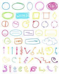 Multicolored infographic elements isolated on white. Set of different indicator signs. Hand drawn simple pointers. Line art. Abstract circles, arrows and rectangles. Symbols for work and business