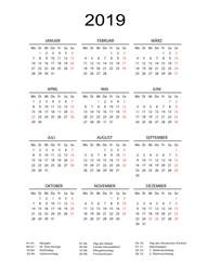 Kalender 2019 mit Linien in weiss