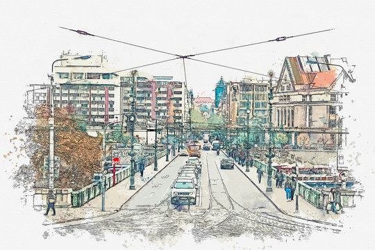 A watercolor sketch or illustration. Prague. Many cars drive across the bridge. Nearby people walk on the pedestrian side of the road.