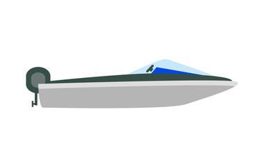 Motor Marine Boat Mockup, Vector Illustration