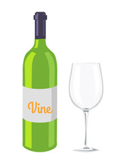 Wine Glass and Bottle Isolated on White Backdrop