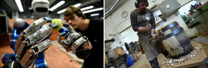 A combination of two images shows, humanoid robot Justin holding a tennis ball at the German Aerospace Center (DLR) in Wessling near Munich and a craftsman building beer barrels the traditional way at his workshop in Munich