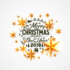 Merry Christmas and happy new year 2018, vector background, design