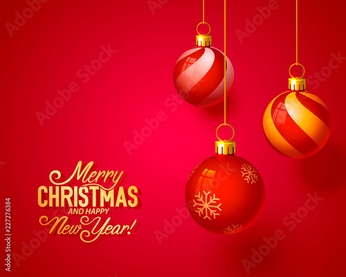 merry christmas and happy new year vector background design