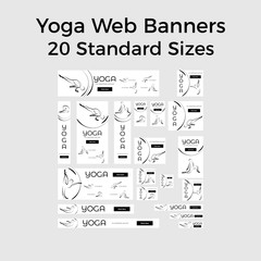 Set of vector yoga web banners