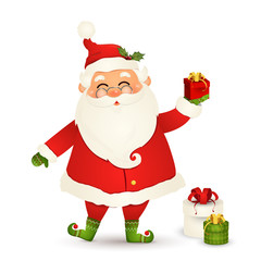 Cute Santa Claus giving christmas present. Funny Santa Claus holding red gift box isolated on white background. Santa clause for winter and new year holidays. Happy Santa Claus cartoon character.
