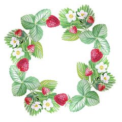 Wreath, frame, postcard of juicy berries, painted with watercolor, set, botanical illustration.