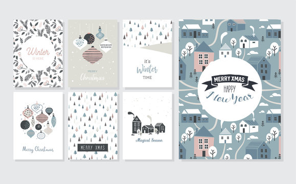 Christmas poster and greeting cards in retro style. Christmas balls in pastel colors, winter landscape and cosy houses. merry christmas illustration