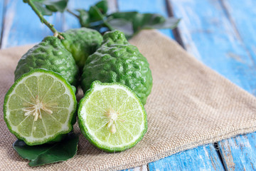 Close up bergamot on wooden table background.