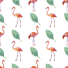 Tuinposter Flamingo Seamless pattern. Golden tropics, leaves, flamingos are painted by hand.