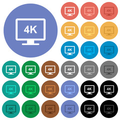 4K display round flat multi colored icons