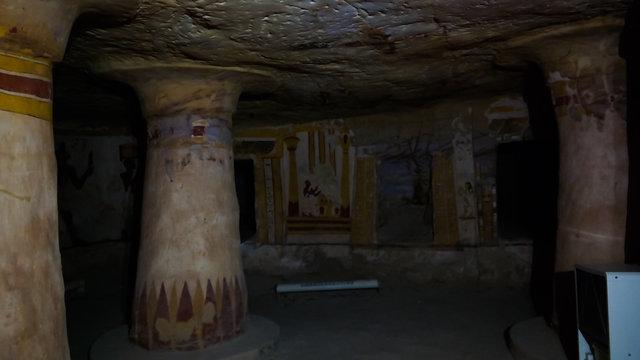 Interior view of ancient Bannentiu tomb, Bahariya, Egypt