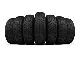 Row of New Studded Winter Tires