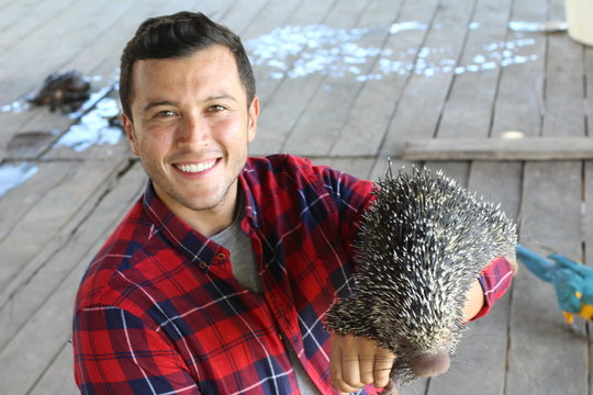 Ethnic guy playing with a Brazilian porcupine