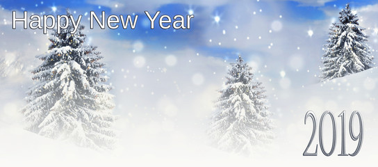 2019 new year card,  text  on christmas tree covered with snow background
