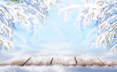 Winter colorful christmas scenic blue background with copy space. Wooden flooring was strewn with snow in forest and  spruce branches covered with snow on nature outdoors.