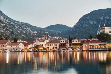 Bay of Kotor. The Town Of Kotor. The reflection in the water. Long exposure. Montenegro.