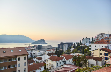 The town of Budva. Orange Roofs Of Houses. The view from the height. View of the Adriatic sea.