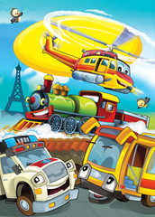 cartoon scene with different vehicles - ambulance school bus locomotive and helicopter - illustration for children