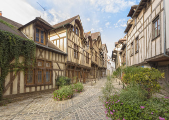 Alley with medieval houses at the old town of Troyes, Fracne