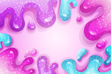 Glitter slime dripping on pink background. Glossy texture with girly colors of pink and purple. Vector illustration.