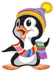 cartoon penguin wearing a colorful knitted scarf and a hat . Vector illustration for baby and little kid