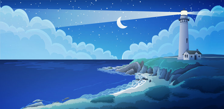 Peaceful seaside landscape with white lighthouse and house at night. Sky with stars and moon. Vector illustration.
