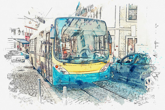 A watercolor sketch or illustration. Lisbon. The bus goes around the city. Local residents and tourists move around the city by public transport.