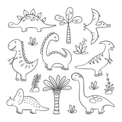 Dinosaurs and prehistoric plants. Set of vector illustration in doodle and cartoon style. Hand drawn. Linear. Black and white