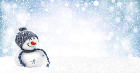 Schneemann im dichten Schneegestöber