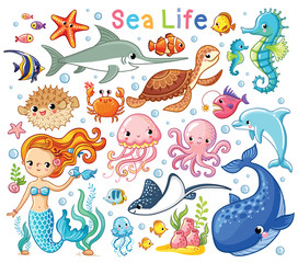 Vector set with sea animals and a mermaid. Collection of marine inhabitants in the cartoon style of children.