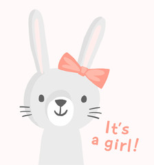 Girl bunny character with a pink bow. Cute vector rabbit character. Funny smiling animal face. Illustration for baby shower invitation, greeting card, birthday party, nursery art poster. It's a girl.