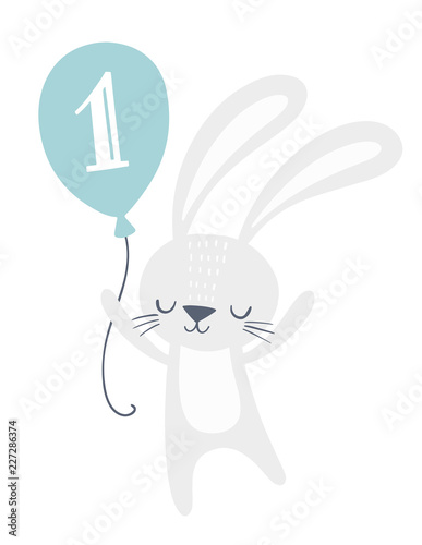 first birthday invitation card design with cute bunny holding a