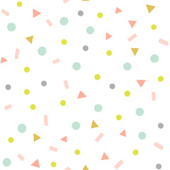 Abstract confetti vector pattern. Party seamless background with geometric shapes, triangles, dots, sprinkles. Pastel colors.