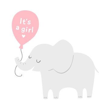 Cute elephant with a pink balloon for baby shower invitations or posters. It's a girl. Vector illustration.