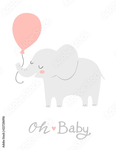 Elephant With A Pink Balloon Oh Baby Lettering Cute Baby Shower