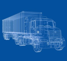 Logistic by Container truck. Vector