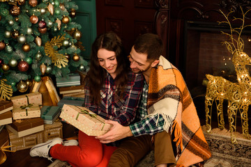 Young couple with gifts near Christmas tree
