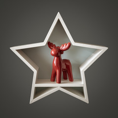 Christmas decoration white star with red deer inside