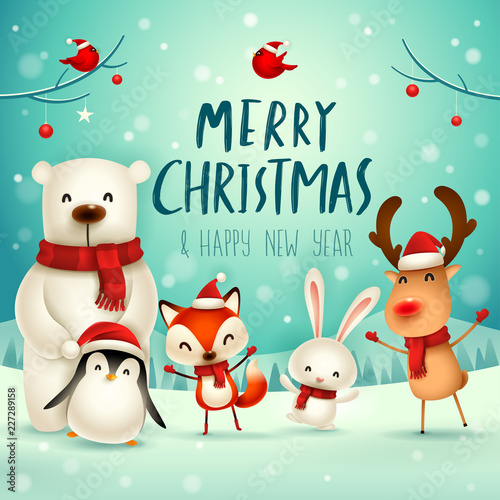 Merry Christmas and Happy New Year! Christmas Cute Animals Character ...