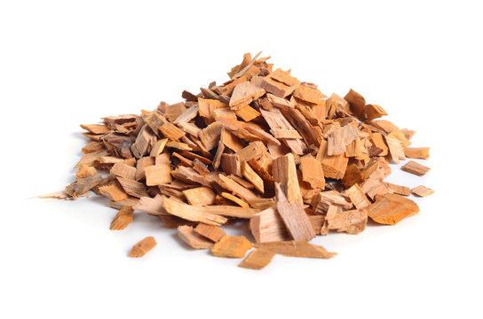 Alder wood chips isolated on white background