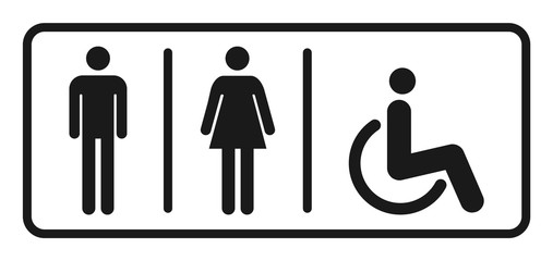 Male and female toilet icon vector, filled flat sign, solid pictogram isolated. WC symbol, logo illustration