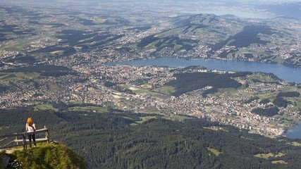 View of the city and the lake of Lucerne from the belvedere of Pilatus mount, border Area between the Cantons of Lucerne, Nidwalden and Obwalden