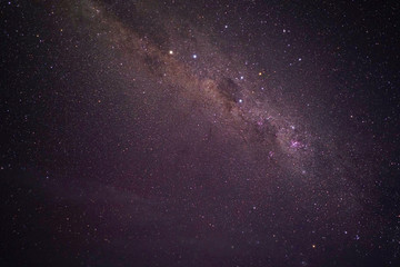 View of stars in the Milky Way on a dark sky above New Zealand