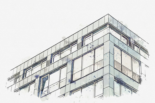A watercolor sketch or an illustration. The corner of the building with many windows.