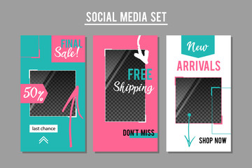 Social media promotion banners set. Vector graphic design templates for e-commerce services, shops and blogs