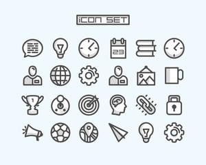 Icons set business office art. Vector illustration