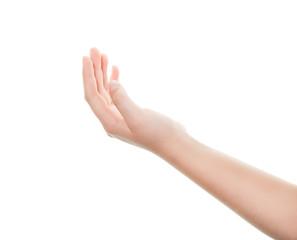 Isolated female hand on white background
