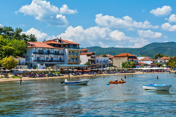 Olympiada, Greece - August 18, 2018: Beach of Olimpiada town at Chalkidiki, Greece