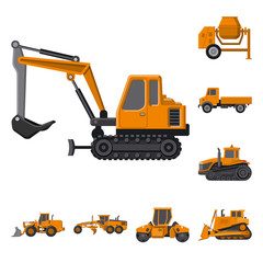 Vector illustration of build and construction icon. Set of build and machinery vector icon for stock.
